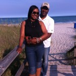 My husband and I leaving the beach. The weather was perfect!