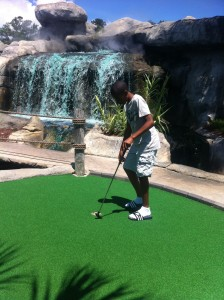 Our son at the beautiful mini golf course.